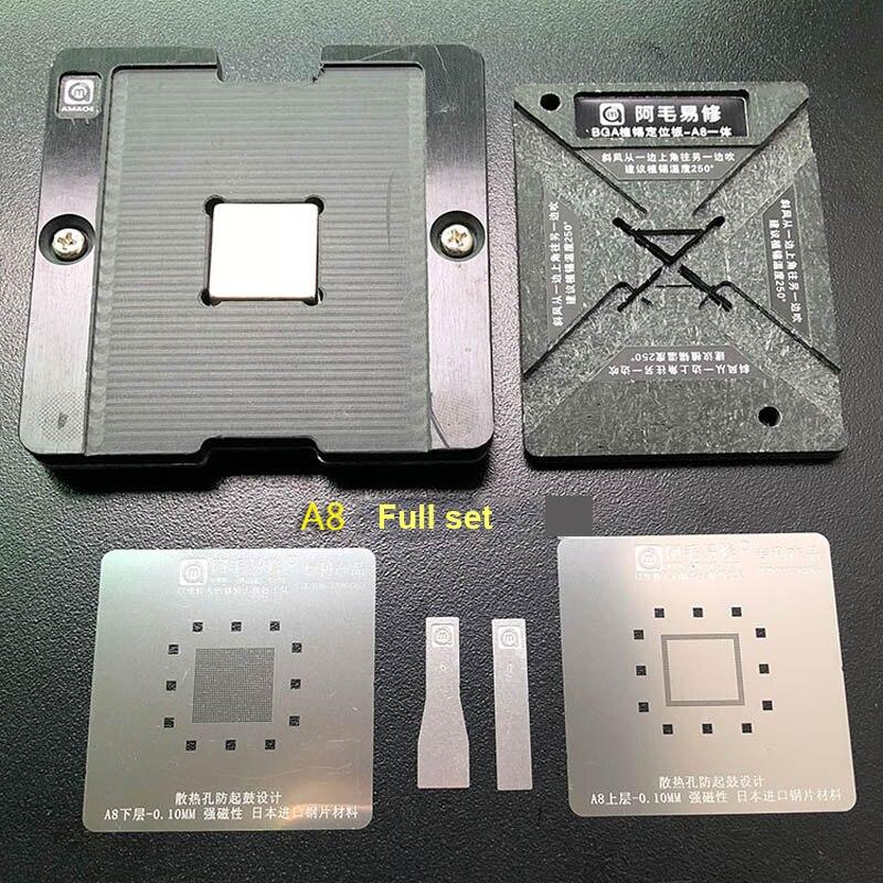 AMAOE Magnetic Reballing Platform IC Chip BGA Reballing Stencil A8 A9 A10 A11 A12 Japan Steel Mesh Phone Repair Tools