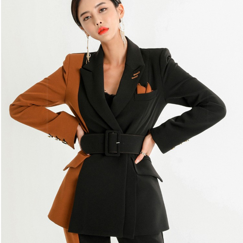 2019 New women office lady pant suits of high quality OL blazer suit jackets with ankle length trouser two pieces set suit