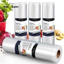 Biały delfin 4 rolki próżniowe torby na żywność opakowanie do przechowywania gospodarstwa domowego najlepsze jedzenie uszczelniacz próżniowy rolki 12 15 20 25x500CM
