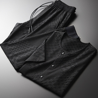 Summer (t shirt+pants) Luxury Yarn dyed Single Breasted Short Sleeve Man Plus Size 4xl Slim Fit Mens Sets