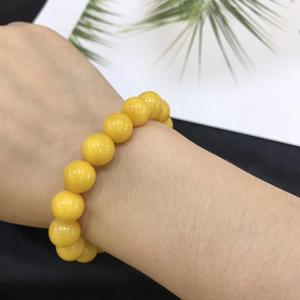 Image 5 - 11.2 มม.ธรรมชาติสีเหลือง Amber อัญมณีรอบสร้อยข้อมือผู้หญิงผู้ชาย Healing ยืด Reiki Amber ใบรับรองเครื่องประดับ AAAAA