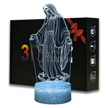 Christian Night Lights Virgin Mary Model Touching LED Lamp Room Decoration Religion Lights With Remote Control