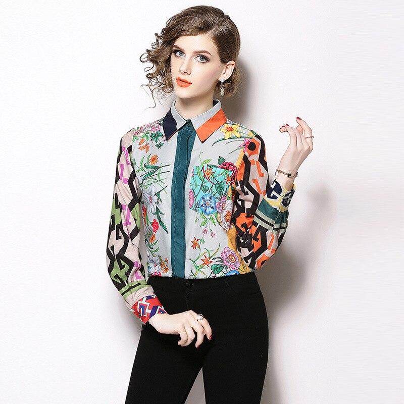 blouse women Long Sleeves Print Blusas Mujer De Moda Office Lady Tops and Blouses streetwear chemisier femme Ladies Top Blusa