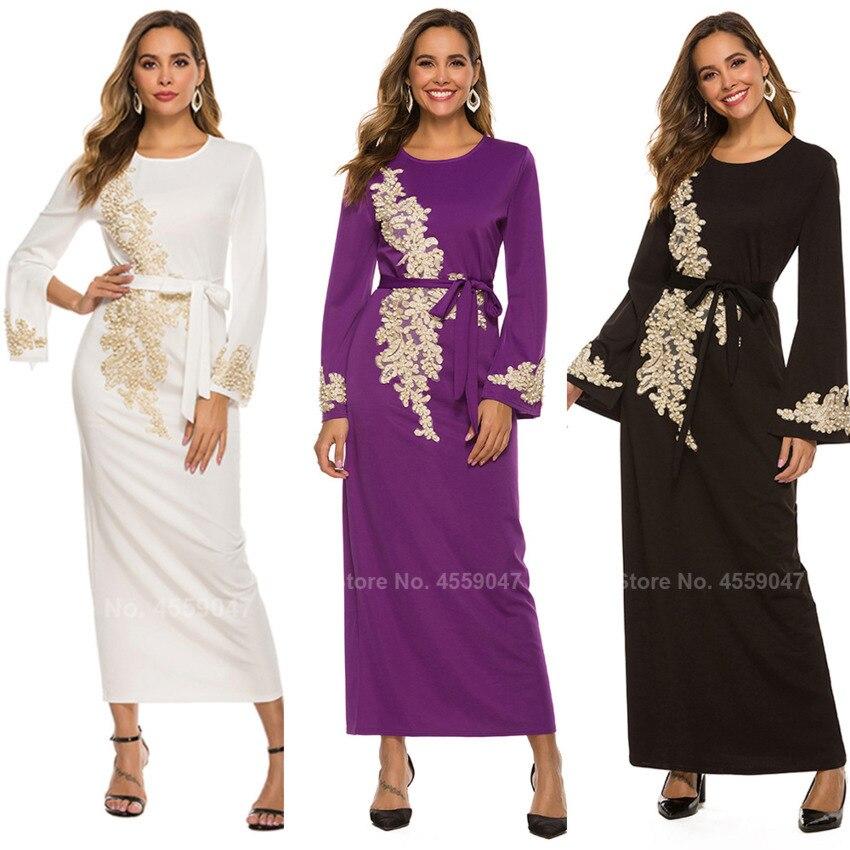 2020 Islamic Clothing Muslim Robe For Women Male Saudi Arab Dubai Bead Work Floral Solid Elegant Long Robe Abaya Cardigan Belt(China)