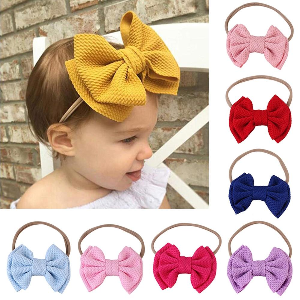 New Children's Bowknot Hair Band Lovely Big Bow Baby HeadbandsNylon Hair Bands Soft Headbands Top Knot Elastic Turban Hairband