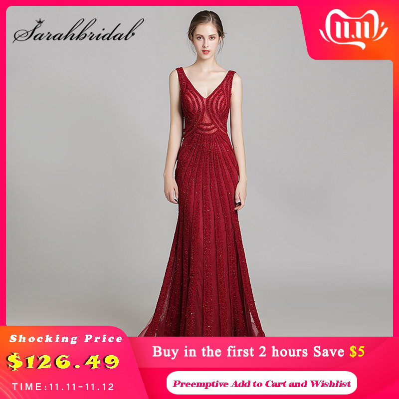 Shining Rhinestone Celebrity Dresses 2019 Long Slim Sexy Mermaid Wine Red Evening Party Gowns Real Photo L5488