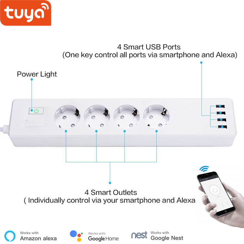 Tuya smart WIFI power strip EU standard with 4 plug and 4 USB port compatible with Amazon Alexa and Google Nest
