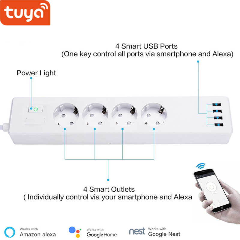 Tuya Smart Wifi Power Strip Eu Standaard Met 4 Plug En 4 Usb-poort Compatibel Met Amazon Alexa En Google nest