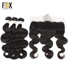 FDX индийские объемные волнистые волосы 3 пучка с фронтальной человеческих волос ткет с 13x4 13x6 Часть Кружева Закрытие remy волос