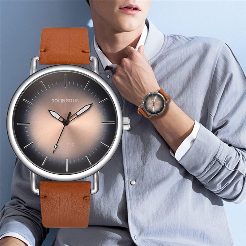 2019 Hot Sale Fashion Casual Couple Quartz Wrist Watch Brown Simple Retro Boy Watches Luxury Brand Female Vintage Leather Clock
