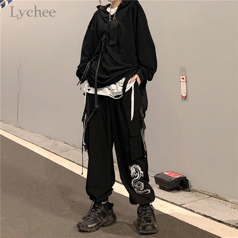 Lychee Harajuku Dragon Embroidery Women Bottoms Pants Casual Autumn Pocket Lady Trousers Elastic Waist Loose Female Cargo Pants