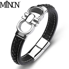 MINCN Mens Brand Jewelry Punk Leather Strap Bracelet Stainless Steel Unique Magnetic