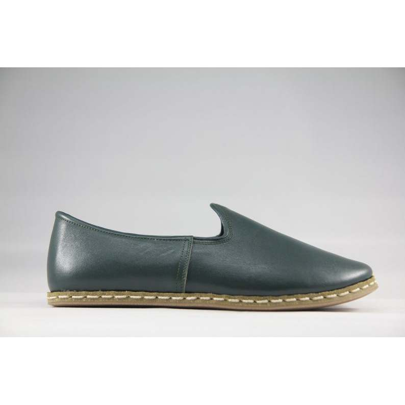 Sabah Mens Zumr'ud Green Handmade Traditional English Slip-On Leather--Womens Shoes 34 to 45 Size EU Size