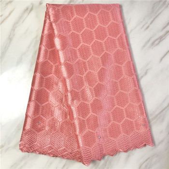 Tela de encaje de gasa africana, 5 yardas, encaje bordado de alta calidad, tela de encaje de algodón seco africano para boda PL101104