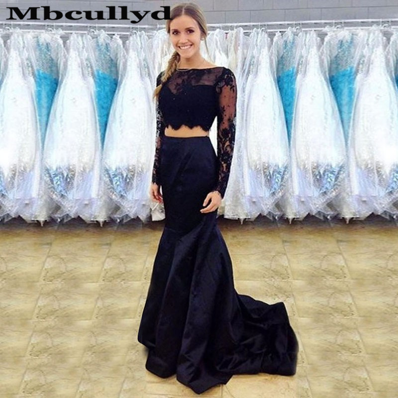 Mbcullyd Black Two Pieces Mermaid Prom Dresses Long Applique Lace Africa Evening Dress For Women Formal Plus Size Robe De Soiree