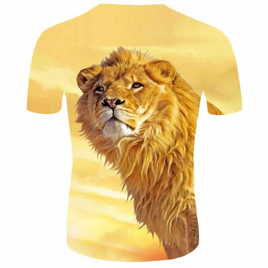 Verão lazer nova 3d camiseta animal 3d leão rei camiseta impressão digital design moda verão esportes camisa de manga curta
