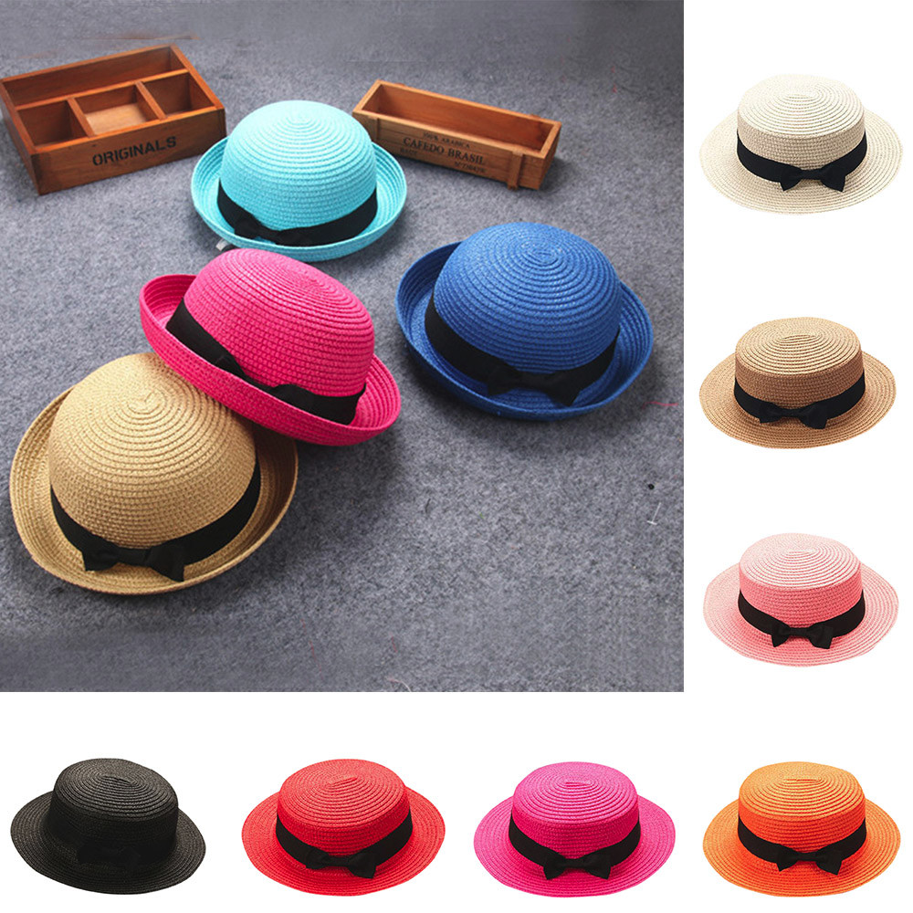 Hat Straw-Hat Children Cap Weaving-Cap Kids Boy Unisex -T1p Bowknot Girls Breathable title=