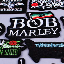 Pulaqi Rock Metal Bands Letter Patch DIY Embroidered Iron On Patches for Clothing Punk Stripe Fabric Badges For Clothes Stickers