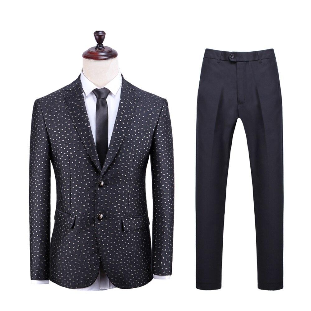 Mens Shiny Gold Dots Black Suit Jacket Luxury Lapel Tuxedo Blazer Male Wedding Party Dinner Blazer 2 Pieces Set(Jacket+Pants)