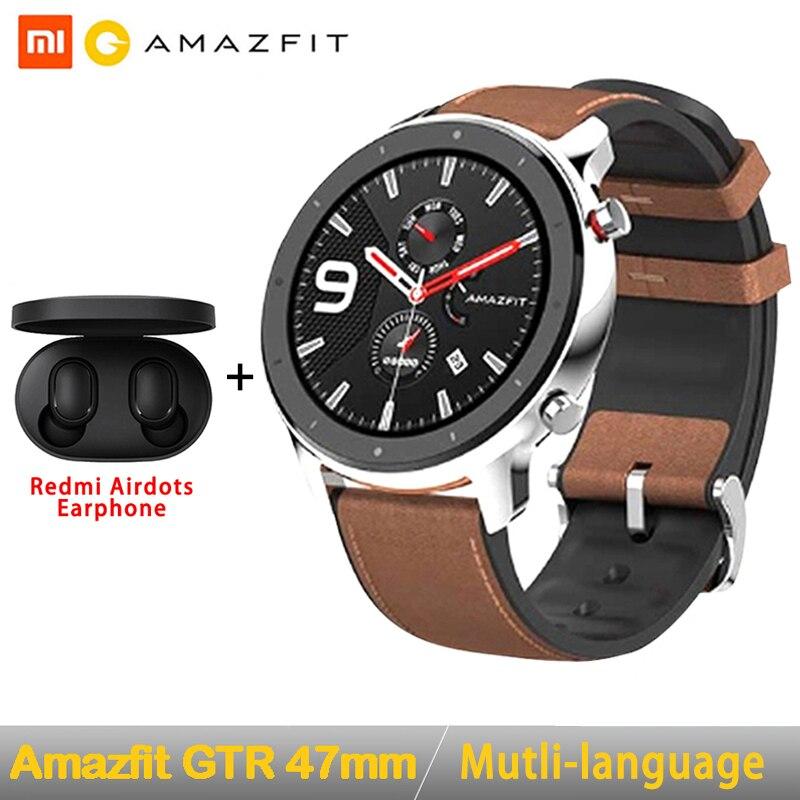 Version mondiale Amazfit GTR 47mm montre intelligente Huami 5ATM étanche Smartwatch 24 jours batterie GPS contrôle de la musique pour Android IOS
