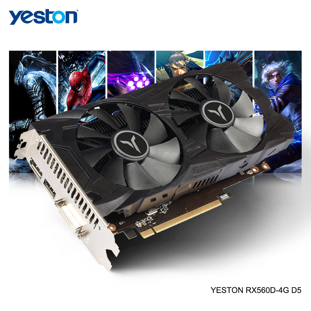 Yeston Radeon RX 560D GPU 4GB GDDR5 128 Bit Gaming Desktop Computer PC Video Graphics Cards Support DVI/HDMI