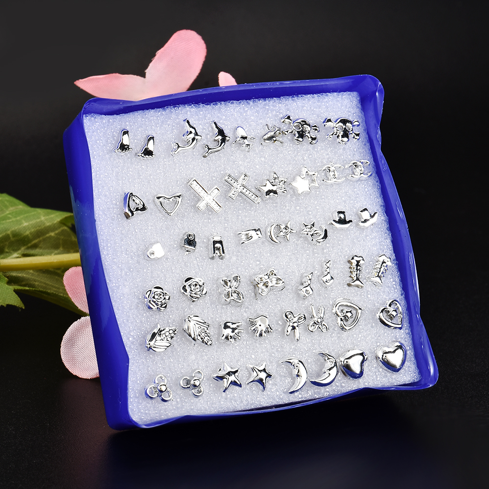 2020 New Fashion 24 Pair/ Set Wholesale Unisex Mix Styles Stud Earrings Women Men Plastic Plated Stud Earrings Jewelry