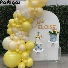 Guirnalda de globos Pastel de macarrón amarillo y blanco, arco para boda, Baby Shower, cinta de fondo para fiesta de cumpleaños, decoraciones de pared universales, 76 Uds.