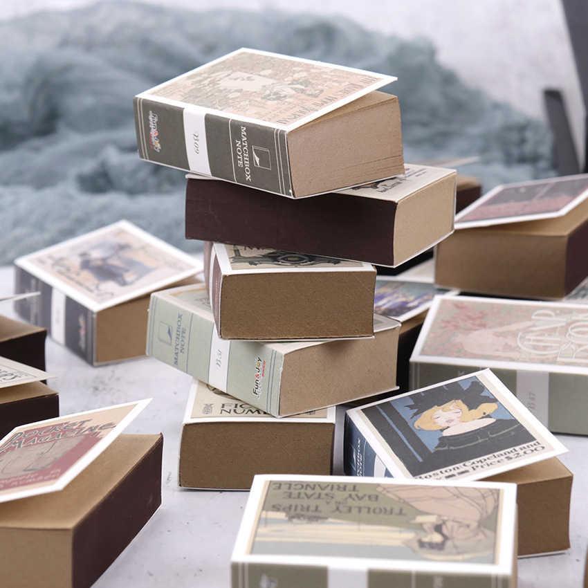 122 Lembar Mini Kotak Korek Api Catatan Kreatif Kertas Kraft Dapat Air Mata Memo Pad Kawaii Portable Catatan Memo Pad Perlengkapan Sekolah