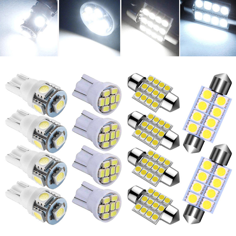 Map Car Light License Lamp Bulbs 6000K 12V Replacement Accessories T10 & 31mm Pack White LED
