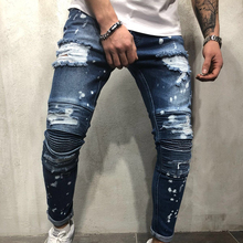Hole Ripped Jeans Denim Trousers Biker Jeans Skinny Brand Jogger Fashion Hip Hop Stretch Streetwear Pants Blue Jean Men Clothes