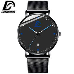 DIJANES Fashion Minimalist Watch Men Mesh Belt Quartz Wrist Watches for Man Business Casual Calendar Clock relogio masculino
