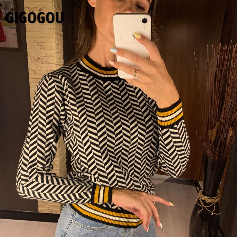 GIGOGOU Geometric Knitted Women Pullover and Sweaters Autumn