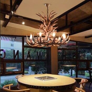 Nordic LED żyrandol E14 lampa wisząca oświetlenie Hanglamp przemysłowe Buck Deer Horn poroża sypialnia salon oprawy kuchenne