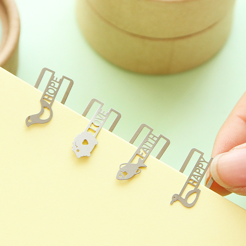 20 Pcs/lot (one Box) Mini Metal Bookmark DIY Clips Cute Cartoon Animal Plated Sliver Bookmarks Stationery Gift Free Shipping