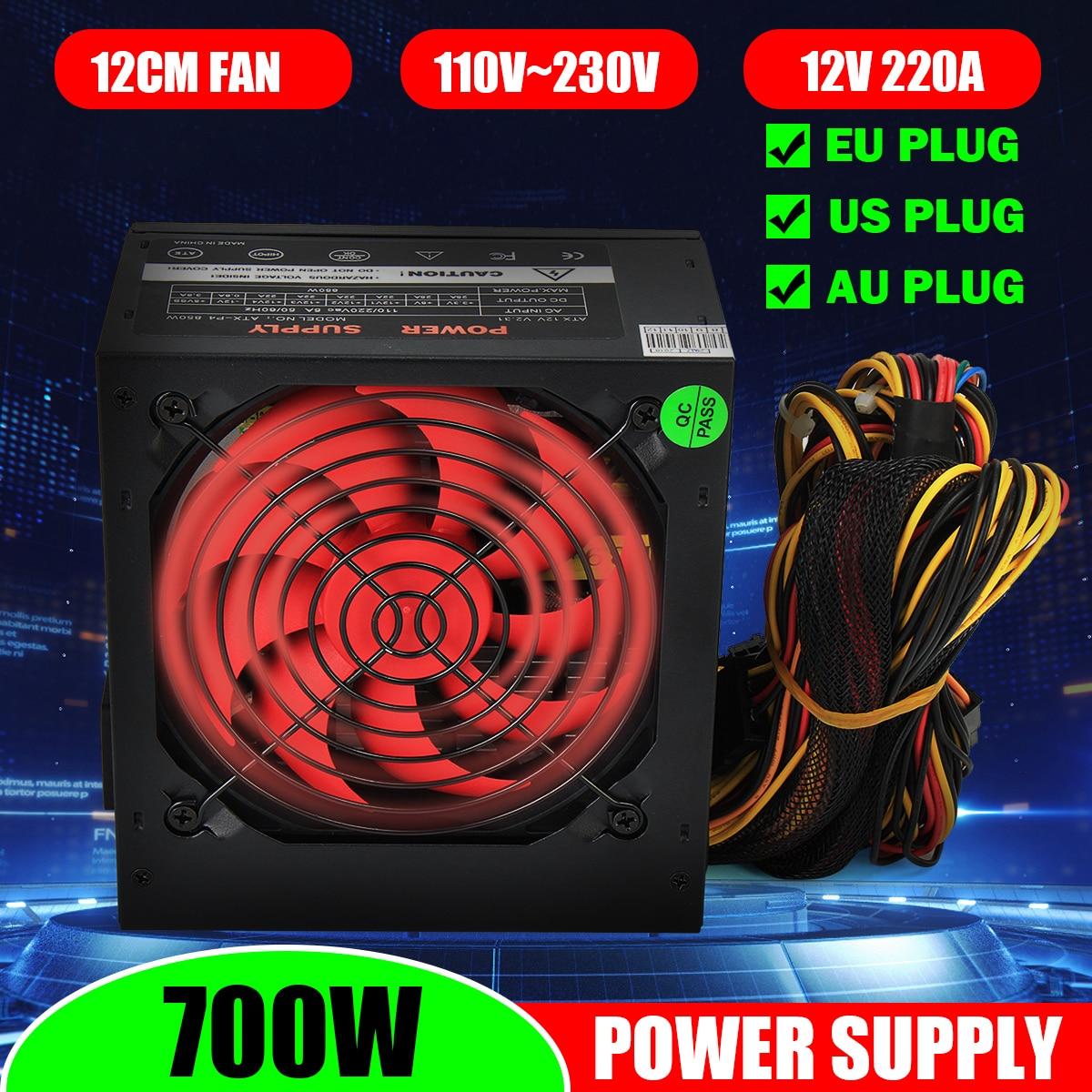 PSU PFC 700 W Watt silencioso ventilador ATX 24 PIN 12CM