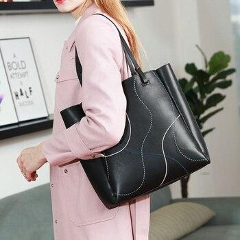 Designer bags famous brand women bags 2019 Large capacity tote bag Woman's leather ladies hand bags 2 piece shoulder bag black