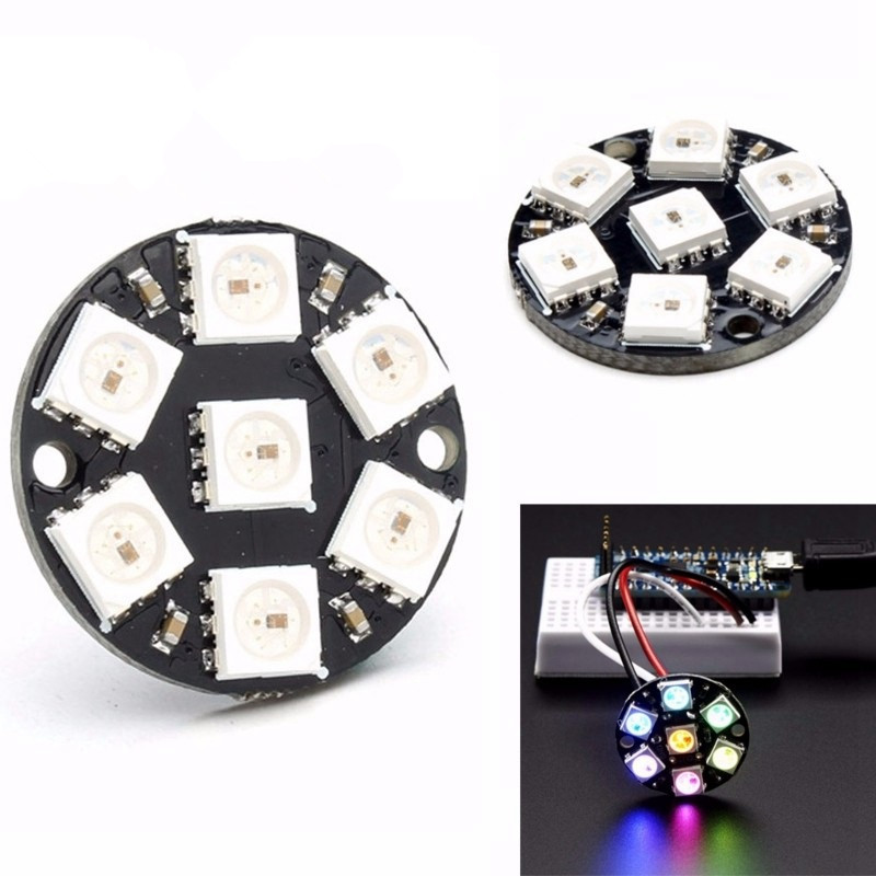 5PCS/LOT 7-bit WS2812 5050 RGB LED Built-in Full-color Drive Color Light Round Development Board