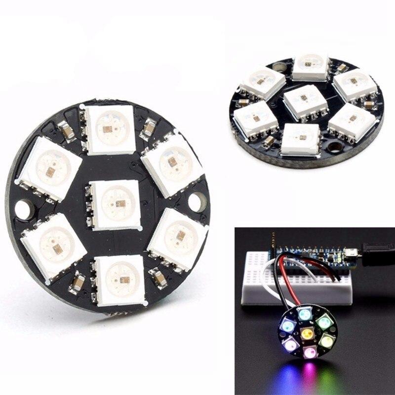 5PCS/LOT 7-bit WS2812 5050 RGB LED Built-in Full-color Drive Color Light Round Development Board