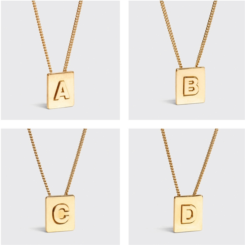 Square Pendant Letters Necklace Women Cold-Wind-Chain The-United-States Contracted Wind-English