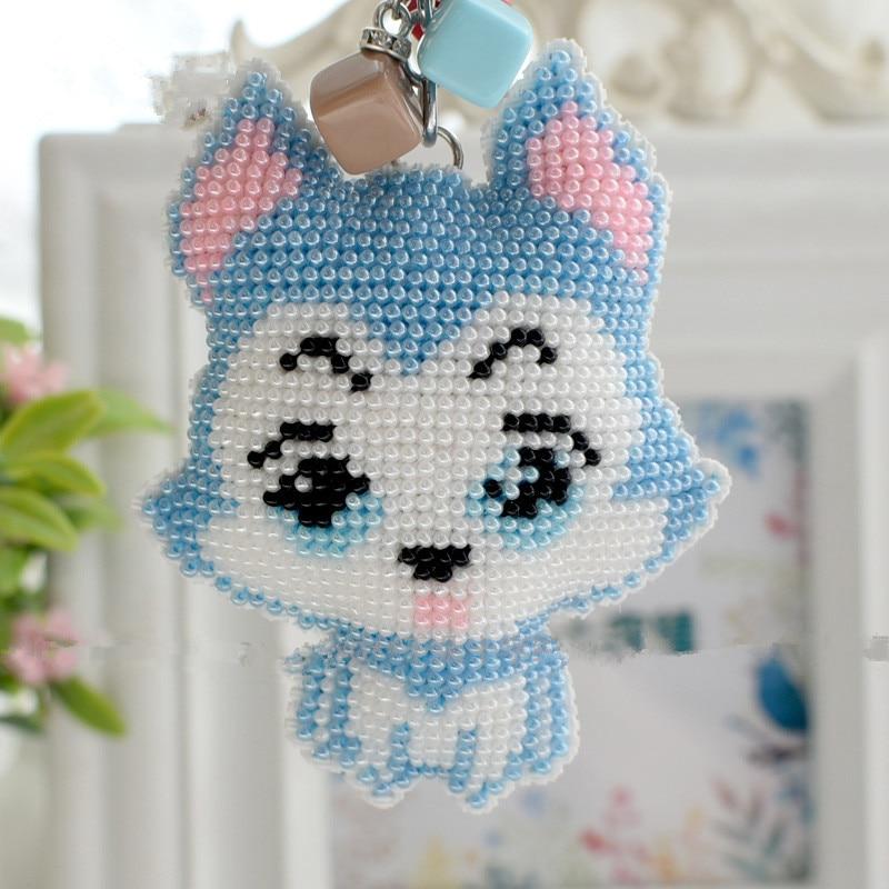 2019 Cute Husky Dog New Print Cross Stitch Key Chain Bead Embroidery Handmade Material Bag DIY Self Embroidered
