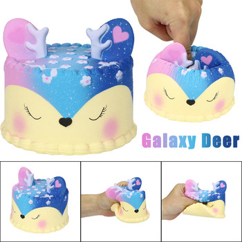 Galaxy Jumbo Deer Cake Slow Rising Scented Squeeze Stress Relief Toy Collection For Kid Adult Decompression игрушки Squishy Gift jumbo kawaii chocolate biscuit squishy soft squeeze toy simulation bread cake scented slow rising anti stress fun for kid gift