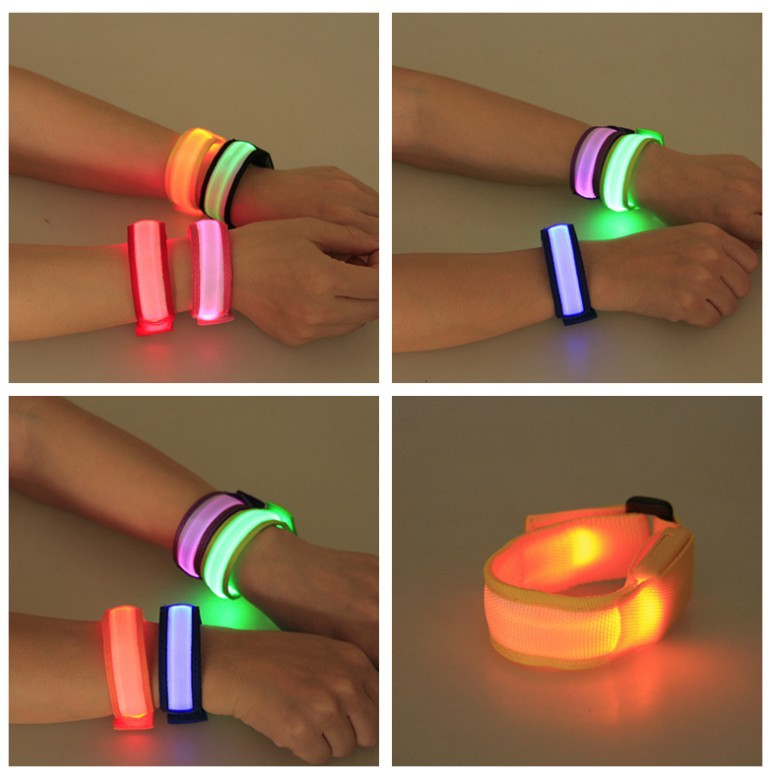 USB Charging LED Sports Slap Wrist Strap Band Luminous Toy Wristband Light Flash Bracelet Glowing Armband Party Toy For Children