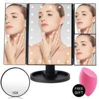 Makeup Mirror 22 LED Light Touch Screen Flexible Magnifying 1X/2X/3X/10X Cosmetic Vanity Mirror USB Or Battery Use Adjustable