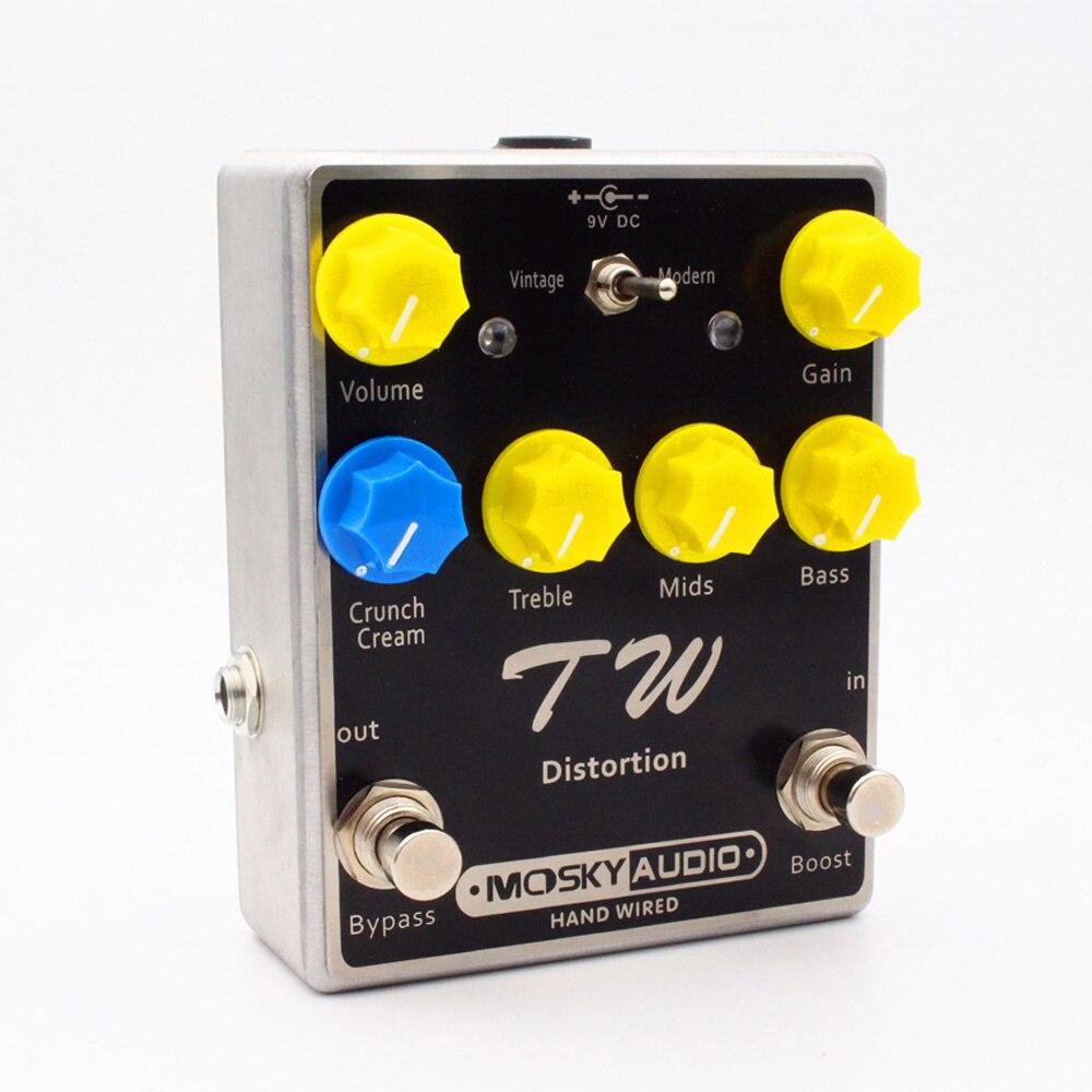 TW distorsion effet guitare pédale Fine-qualité avec condensateurs résistances IC trois bandes EQ guitare effets guitares accessoire