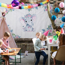 цены OHEART Baby Shower Party Elephant Baby Shower Backdrops for Photography Moon Star Party Banner Portrait Photo Studio