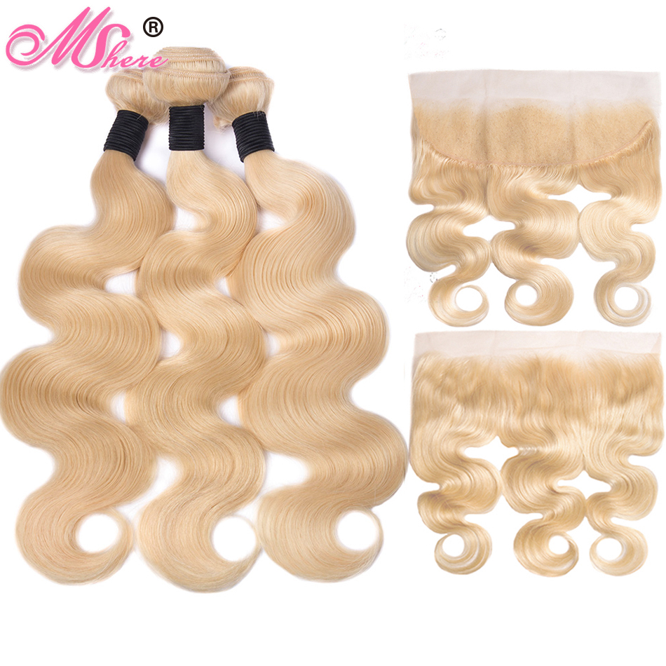 Mshere 613 Bundles With Frontal Brazilian Body Wave With Frontal Non Remy Blonde Human Hair Lace Frontal Closure With Bundle