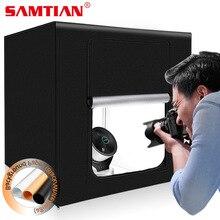 SAMTIAN Light กล่อง 60*60 ซม.แบบพกพากล่อง Softbox 3 สีพื้นหลังสำหรับเครื่องประดับของเล่นการถ่ายภาพ LED ไฟ Photo BOX