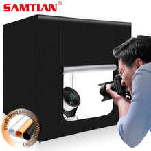 SAMTIAN Light Box 60*60cm Portable box light Softbox with 3 colors background for Jewelry toys photography LED lights Photo box