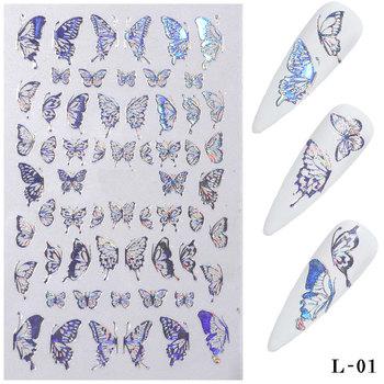1pc hologram 3D Butterfly naklejki do paznokci samoprzylepne suwaki kolorowe DIY złoty paznokci kalkomanie transferowe folie okłady dekoracji tanie i dobre opinie CN (pochodzenie) 1 Sheet butterfly stickers Naklejka naklejka As the pictures show as shown 1 Sheet Butterfly Nail Stickers