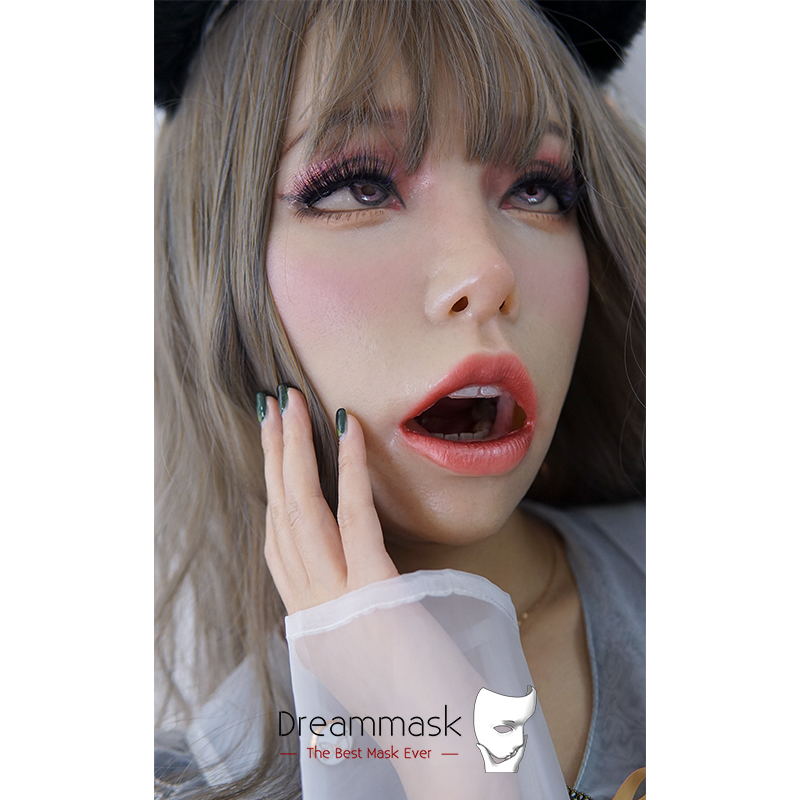 (M08C) Crossdress Silicone Female Mask Full Head Realistic Face Kigurumi DMS Open Mouth Sex Mask 'Poppy' With Special Makeup